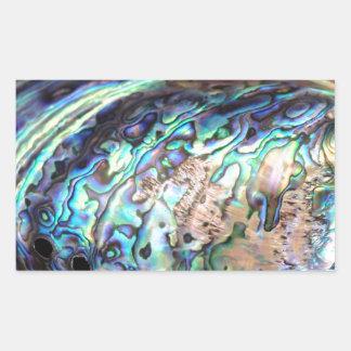 Paua abalone blue and green shellfish detail rectangular sticker