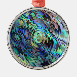 Paua abalone shells blue green abstract design christmas ornament