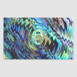 Paua abalone shells blue green abstract design rectangular sticker