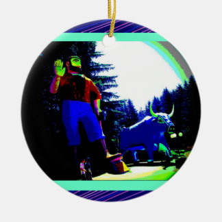 Paul Bunyan and Ox Photo digitally enhanced Christmas Ornament