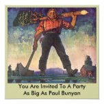PAUL BUNYAN Giant Logging Woods Party Invitation 13 Cm X 13 Cm Square Invitation Card