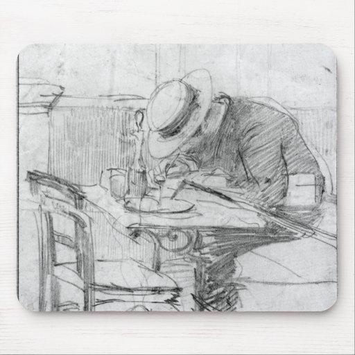 Paul Cesar Helleu at a table in a cafe Mousepad