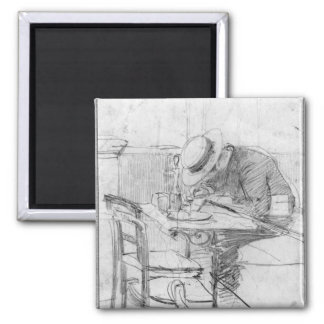 Paul Cesar Helleu at a table in a cafe Square Magnet