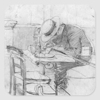 Paul Cesar Helleu at a table in a cafe Square Sticker