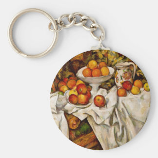 Paul Cézanne - Apples and Oranges Basic Round Button Key Ring