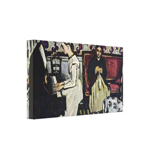 Paul Cezanne - Girl at Piano Stretched Canvas Prints
