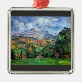 Paul Cezanne - Mount St Victoire Silver-Colored Square Decoration
