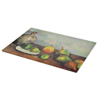 Paul Cezanne- Still life, pitcher and fruit Cutting Board