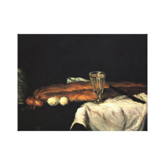 Paul Cezanne - Still life with bread and eggs Stretched Canvas Prints