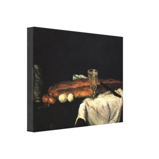 Paul Cezanne - Still life with bread and eggs Canvas Print