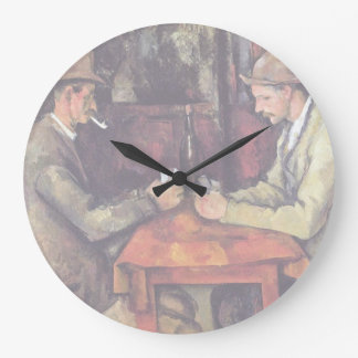 Paul Cezanne - The Card Players Fine Art Painting Large Clock