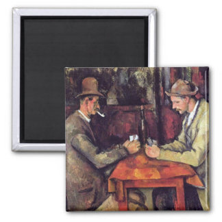 Paul Cezanne - The Card Players Fine Art Painting Square Magnet