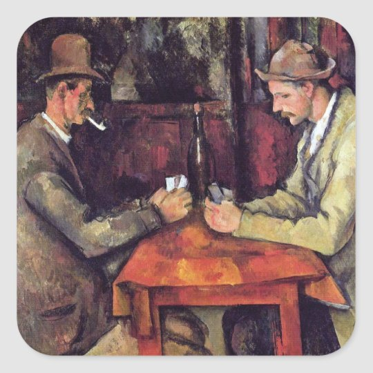 Paul Cezanne - The Card Players Fine Art Painting Square Sticker