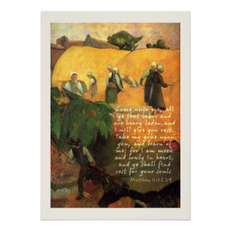 Paul Gauguin Haymaking with Bible Verse Christian Poster
