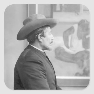 Paul Gauguin  in front of his canvases Square Sticker
