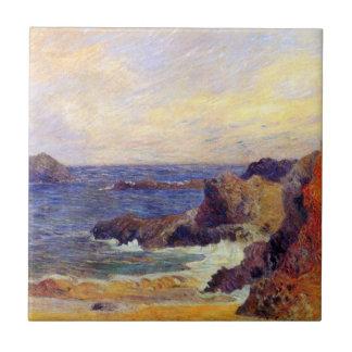 Paul Gauguin - Rocky Coast Fine Art Painting Small Square Tile