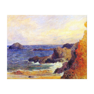 Paul Gauguin - Rocky Coast - France Beach Sunset Stretched Canvas Print