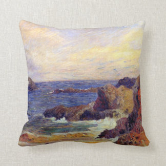 Paul Gauguin - Rocky Coast - France Beach Sunset Throw Cushions