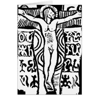 Paul Gauguin's Woodcut of Crucifix Greeting Card