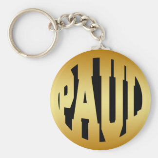 PAUL - GOLD TEXT BASIC ROUND BUTTON KEY RING