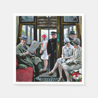 Paul-Gustave Fischer art - Copenhagen Tram Disposable Napkin