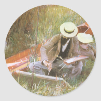 Paul Helleu Sketching with His Wife by Sargent Round Sticker