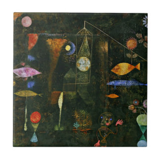 Paul Klee art: Fish Magic, famous Klee painting Small Square Tile