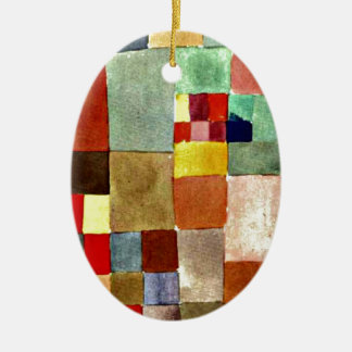 Paul Klee art: Flora on Sand, famous painting Ceramic Oval Decoration