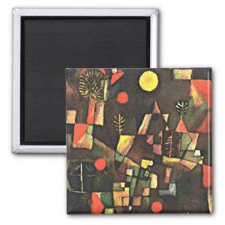 Paul Klee art: Full Moon Square Magnet