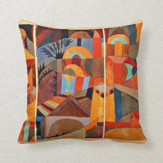 Paul Klee art: Temple Gardens Cushion