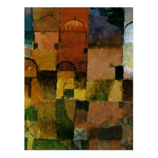 Paul Klee - Red and White Domes painting Postcard