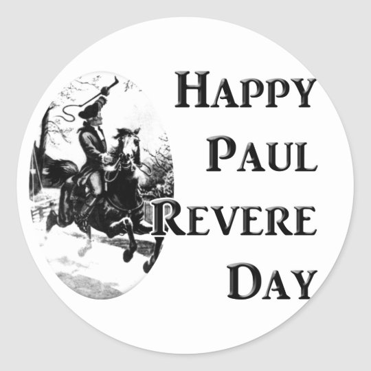 Paul Revere Day Classic Round Sticker