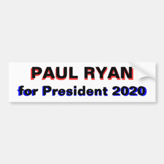 Paul Ryan for President 2020 white Car Bumper Sticker