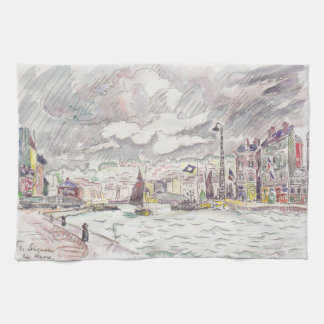 Paul Signac- Le Havre with rain clouds Hand Towels