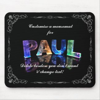 Paul - The Name Paul in 3D Lights (Photograph) Mousemats