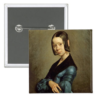 Pauline Ono  in Blue, 1841-42 15 Cm Square Badge