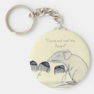 Pause and Smell the Flowers -Keychain Basic Round Button Key Ring