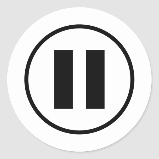 Pause Button Icon Symbol Customisable Classic Round Sticker