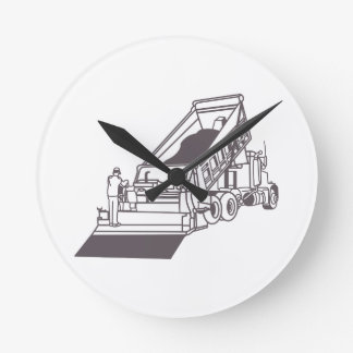 Paving Truck Outline Round Clock
