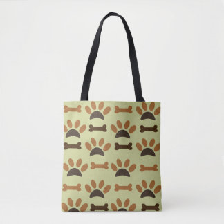 Paw And Bone Pattern Tote Bag