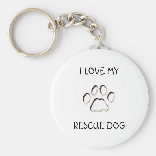 paw background, I LOVE MY, RESCUE DOG Basic Round Button Key Ring
