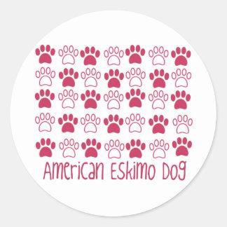 Paw by Paw American Eskimo Dog Round Sticker