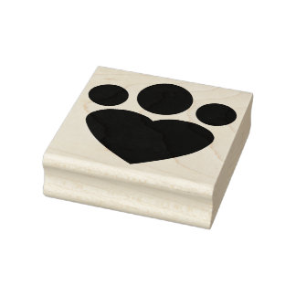 Paw Heart Rubber Art Stamp