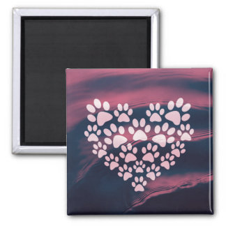 Paw Heart Square Magnet