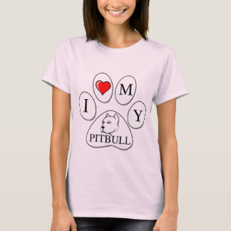 PAW - I heart my Pit Bull - Love Dog Breeds Pets A T-Shirt