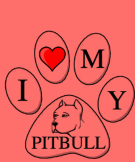 PAW - I heart my Pit Bull - Love Dog Breeds Pets A T-shirts