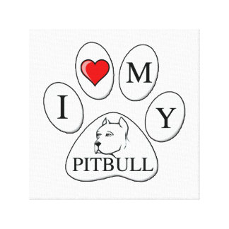 PAW - I heart my Pit Bull - Love Dogs Gallery Wrap Canvas