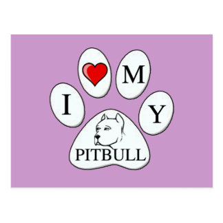 PAW - I heart my Pit Bull - Love Dogs Postcard