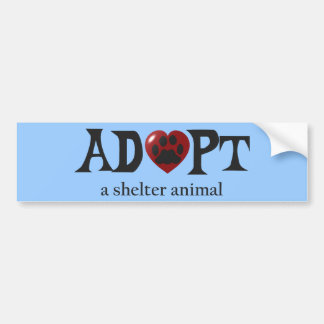 Paw in Red Heart Shelter Animal Bumper Sticker Car Bumper Sticker