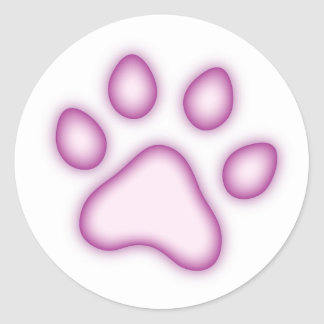 Paw or pawprint stickers, pale pink and purple
